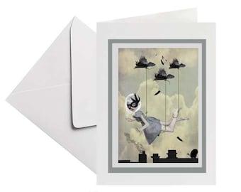 Bird card | All occasion greeting card | Blank Card | Art Card | Birds in flight | Frameable card