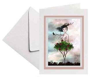 Pop surrealism | Art card | Rose tree girl | Greeting card | Blank card | Keepsake card | Pop surreal art