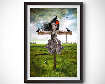 Scarecrow and birds art print | Quirky wall art | Mixed media art | Home decor | Lowbrow print | A3 Art