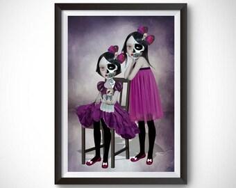 Day of the dead art print | Sisters gift wall art | Twin sisters art | Dia de Los Muertos | Sugar skull Twins | Sibling art print