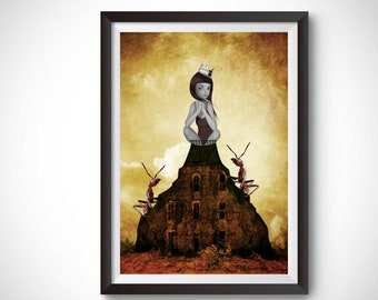 Pop surrealism print | Big eye girl and ants | Surrealism wall art | Home decor | A3 Print