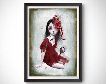 Quirky wall art | Big eye art print | Quirky home decor | Lolita | A3 Print