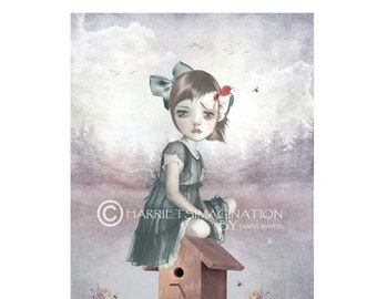 big eye curly hair gothic girl original art print big eyes child modern lowbrow