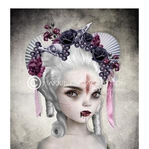 """Gothic Vampire Portrait /""""Starlet/"""" FANTASY ART 12/"""" x 12/"""""""