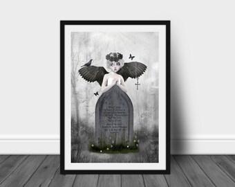 Dark Fantasy Art Print | Angel Print | Gothic Angel | Dark Angel | A3 Art Print | Fallen Angel