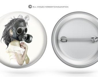 Steampunk pinback button | Wearable art | Button pin | Art badge | Steampunk gift | Gas mask pinback button | Backpack pin