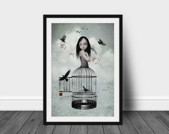 A3 Art print | Birdcage Girl & Birds | Lowbrow Art | Bird Art | Big Eyes Art | The One They Left Behind
