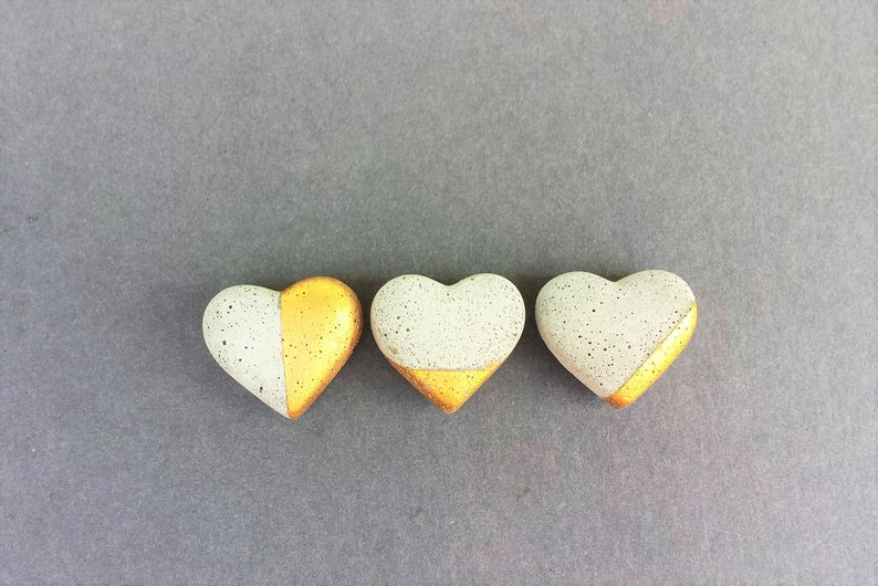 Gold Heart Concrete Magnets Office Gift Set Refigerator Magnets Hostess Gifts Secret Santa Office Gift School Supplies Stocking Stuffer