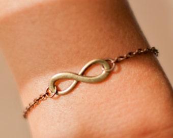 Bracelet Infinity, everyday jewelry, silver brass love, eternity bracelet