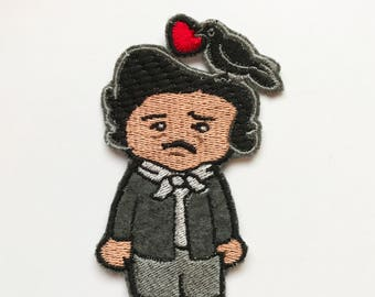 Embroidered Edgar Allan Poe patch applique Nevermore book lover literature gothic author 4 inches
