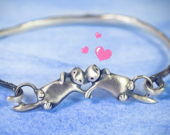 Otter Bracelet! An Adorable Sleeping Otter Couple to Travel with you in Silver, Bronze, or Gold