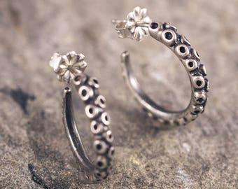 Tentacle Hoops!! Handmade by Me in Solid Sterling Silver or Bronze / Tentacle Earrings / Hoop Earrings