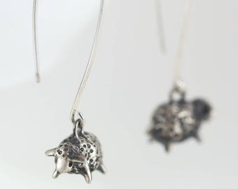 Fluffy Sheep Earrings, Handmade in Sterling Silver, Bronze, or 14k Gold / Dangle Sheep Earrings / Lamb Earrings