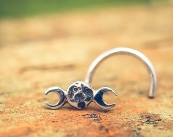 Phases of the Moon Nose Stud in Solid Sterling Silver. Great for Noses, Tragus and Earrings.