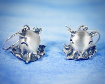 Octopus Earrings! Handcrafted Adorabilis Dumbo Octopus Earrings in Sterling Silver, Bronze, or Gold