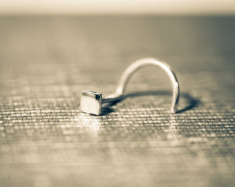 Subtle Solid Sterling Silver Square Nose Stud That's Totally Hand Made