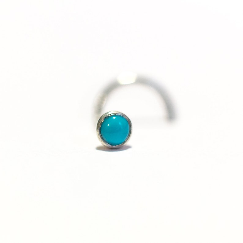Small Silver and Genuine Natural Turquoise Nose Stud 3mm Cabochon