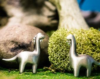 Dangly Brontosaurus Earrings In Solid Sterling Silver Or Bronze