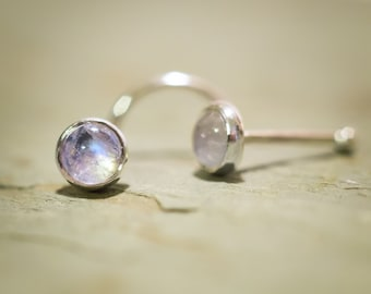 Just a Rainbow Moonstone Nose Stud (4mm Cabochon) Handmade with Love Out of Solid Sterling Silver