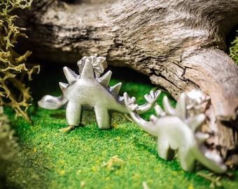 Little Light Stegosaurus Earrings In Solid Sterling Silver Or Bronze