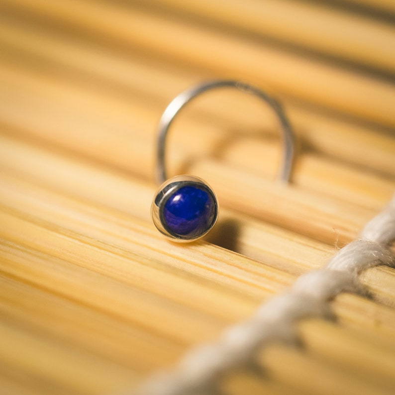 Luscious Little Lapis Nose Stud in a Solid Sterling Silver Bezel 3mm Cabochon
