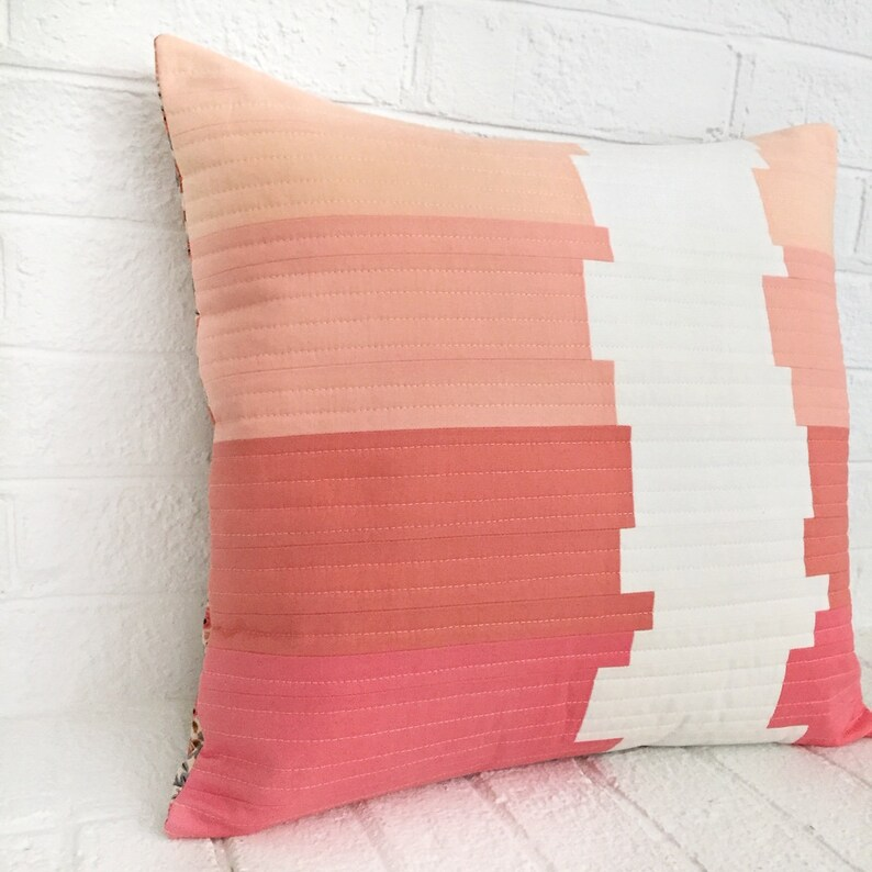 Pink Pillow Cover Modern Throw Pillow Pink Quilted Etsy