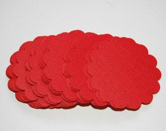 """Classic Red Scalloped Circle Punch Cut Outs --1 3/4""""--DIY Cupcake Topper-Gift Tag-Earring Card-DIY Wedding Favor --Set of 30-- Ready to Ship"""
