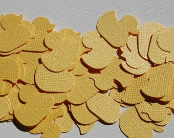 Yellow Shimmer Duckies Confetti - Punch - Cut Outs - Gender Neutral - Baby Shower - First Birthday -- Set of 50 ducks -- Ready to Ship