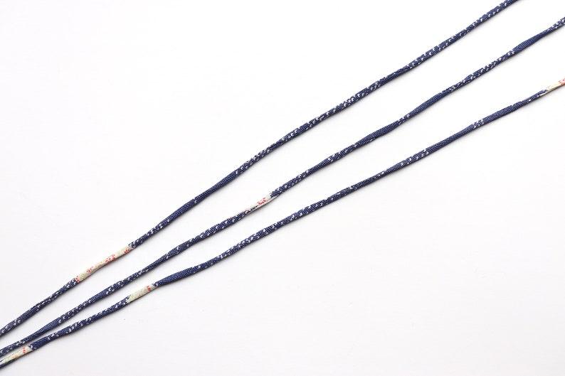 Japanese KOFU cord 5mm made with antique Kimono color Blue white silk 1m
