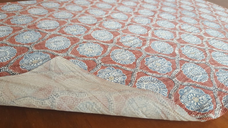 fabric from used Kimono 33cm 50cm Red  Blue 13 KOFU Chirimen Floral prints X 19 58 Silk