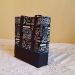 Medium Bible Tote perfect for your Bible, Journal, Study guides and Binder. Chalkboard print with optional turquoise accents.