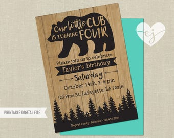 Boy Bear Birthday Invitation, Woodland Birthday Invite, Little Cub Birthday, Baby Bear Birthday, Man Cub Birthday, Man Cub First Birthday