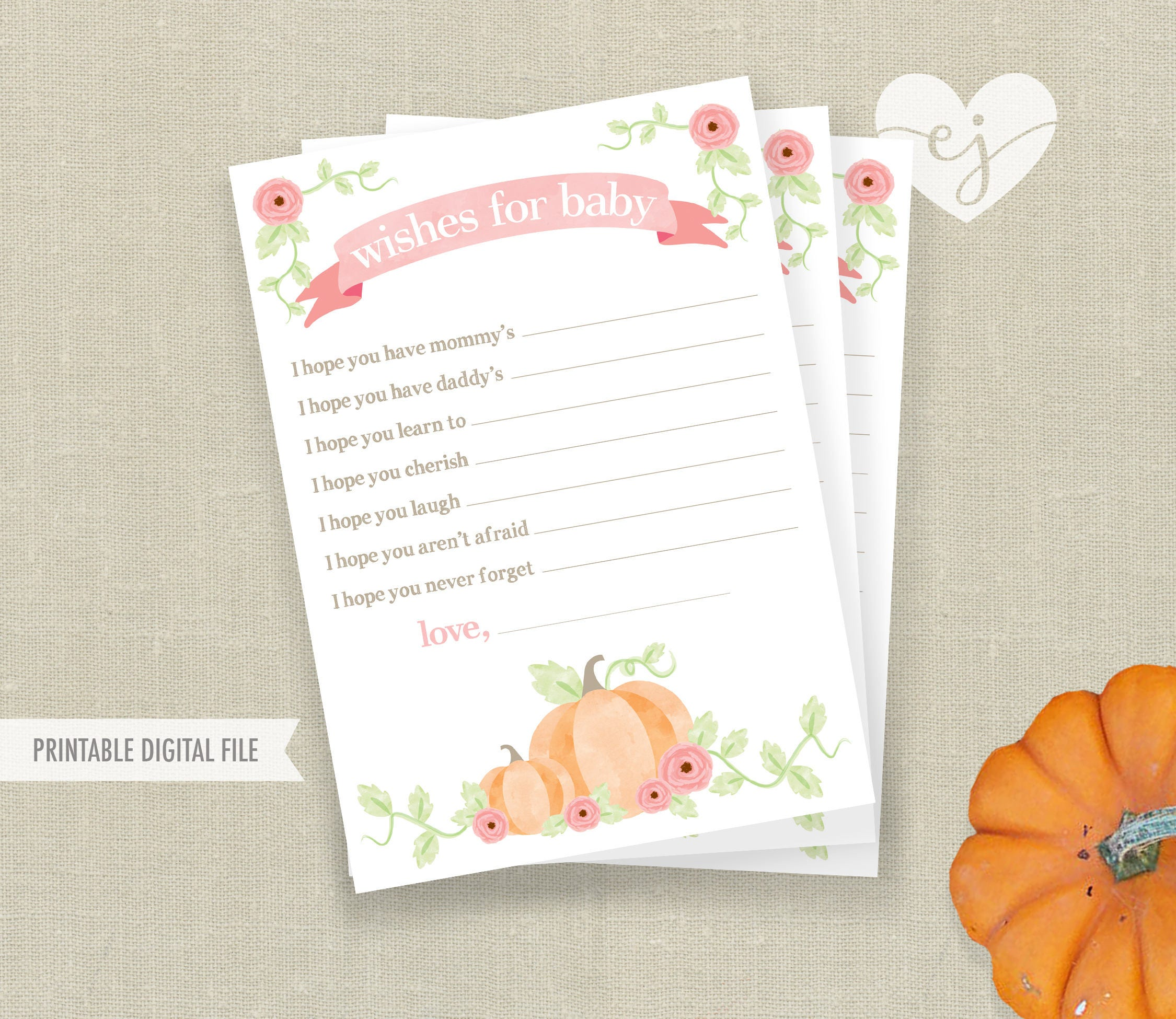 Girl Wishes for Baby Card Baby Shower Wishes Pumpkin Wishes