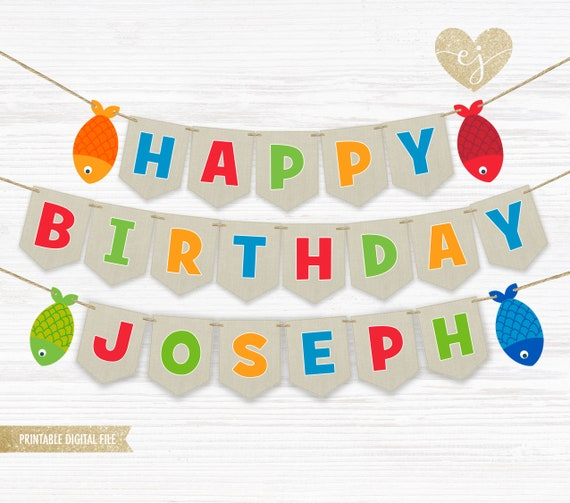 Fishing Birthday Banner Personalized Party Backdrop