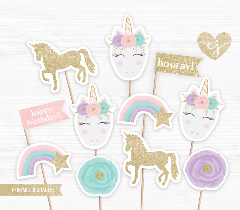 image about Unicorn Cupcake Toppers Printable called Unicorn Cupcake Toppers, Printable Cupcake Toppers, Unicorn Birthday, Birthday Cupcake Toppers, Unicorn Social gathering Decor, Printable Unicorn celebration