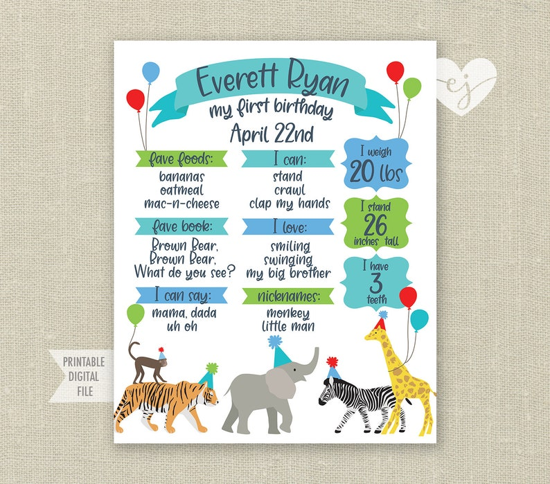 Party Animals Milestone Poster Party Animals Birthday Sign Wild One Stat Poster Wild One Stat Chalkboard First Birthday Stats Poster