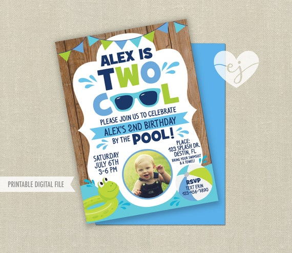 Pool Party Birthday Invitation Two Cool Boy
