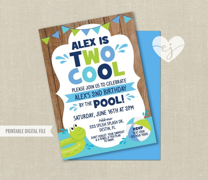 Pool Party Birthday Invitation Two Cool Boy