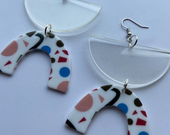 PEEWEE multicolored and clear lucite earrings