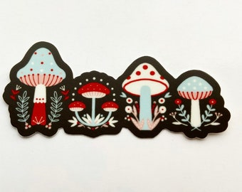 "Lil Mushies mushroom red black white blue sticker 4"""