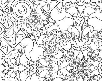 Sarah's Simpsons mandala coloring book digital download 10 pages
