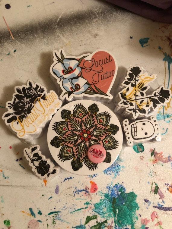 a45ea6ab5f9af 10 piece locust tattoo/sarah de azevedo sticker pack L and | Etsy