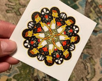 "CLETUS the slack-jawed yokel sticker 3"" ditsy flower mandala"