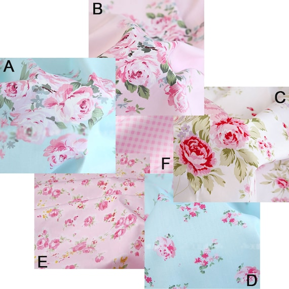 PATCHWORK PATCHES GINGHAM VINTAGE LOOK FLORAL ROSE 100/% cotton fabric//PER METRE//