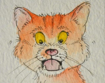 GINGER Cat ACEO, (Art Cards Editions Originals) Original Illustration Art, Watercolour and Pen