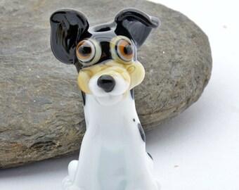 TERRI the  Lampwork Glass Bead Terrier Dog , Glass Sculpture Collectible, Focal Bead, Izzybeads SRA