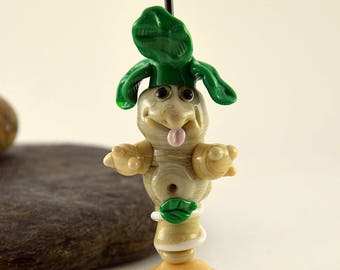MANDRAKE,  whimiscal focal glass lampwork bead, collectible dog bead, Izzybeads SRA