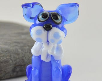 BLUE, Sculptural cat bead, whimiscal focal glass lampwork bead, collectible dog bead, Izzybeads SRA