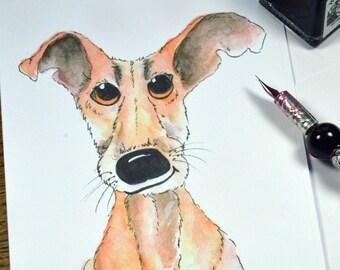 Dog, Lurcher, Greyhound,  Greeting Card, Blank Card, Anniversary Card, Birthday Card, Cute Card