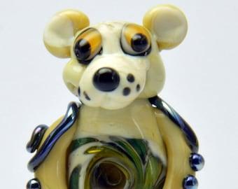 Ivory Spirit Bear, Spirit Bear, Large Bear,  Glass Sculpture Collectible, Focal Bead, Pendant, Izzybeads SRA